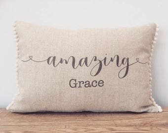 Amazing Grace Linen Cushion Print with pompom trim