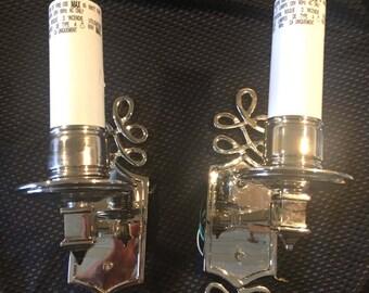 Set of Beautiful Chrome or Polished Nickel Sconces