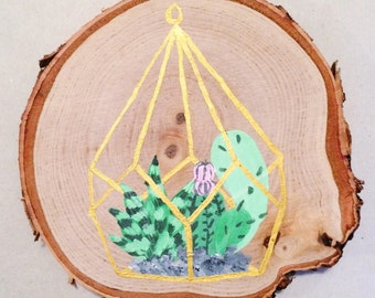 Cactus Succulent Painting - 6 in larger wood slice