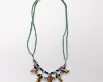 Gold Crystal Mint Suede Necklace Apprx 18 Inches