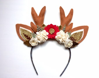 Christmas Reindeer Antlers and Ears Headband - red, white and gold stripe blossoms with gold, brown and green leaves - holiday