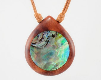 Mother Of Pearl, Resin and Wood Pendant; Resin Jewelry, Wood and Resin Pendant, Resin Jewelry