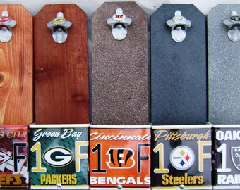 Pittsburgh Steelers Wall Mounted Bottle Opener & License Plate Cap Collection Box