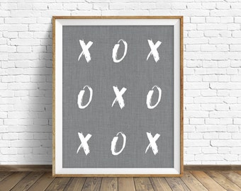 "printable quote art, printable wall art, instant download, black and white, quote art, quote print, black and white, gray - ""X's and O's"""