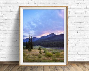 "landscape photography, clouds, mountains, large art, large wall art, colorful landscape, instant download printable art -""Sunset at Hyalite"""