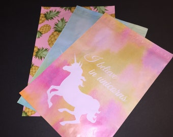 100  10x13 PINEAPPLE and UNICORN Assortment Poly Mailers Self Sealing Envelopes