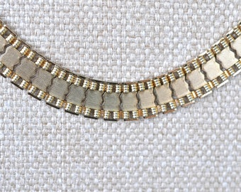 Sarah Coventry Reversible Gold Tone Necklace with Rau Klikit Closure, Gold Tone, Coventry Jewelry, Gold Choker, Reversible Necklace, GS772