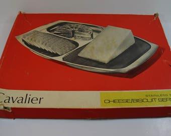 Mid-Century Stainless Steel Cheese Board, Retro Cheese & Biscuit Platter, Vinatge Cavalier Stainless Steel Serving Platter, Party Serving