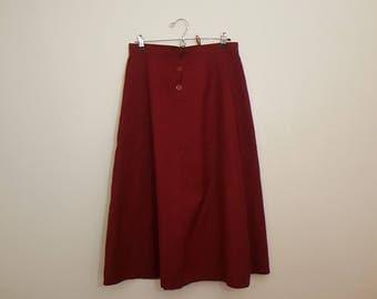Red Burgundy Skirt / Open Skirt / Christmas Skirt