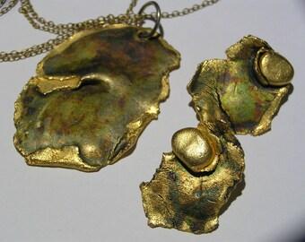 Vintage Mod Modern  Pendant . Earrings - Brutalist Costume Jewelry