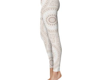 Boho Leggings, White Leggings, White and Beige Mandala Yoga Pants