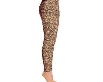 Chocolate Brown Yoga Leggings, Brown Leggings, Brown and White Printed Leggings, Mandala Art Tights, Stretch Pants