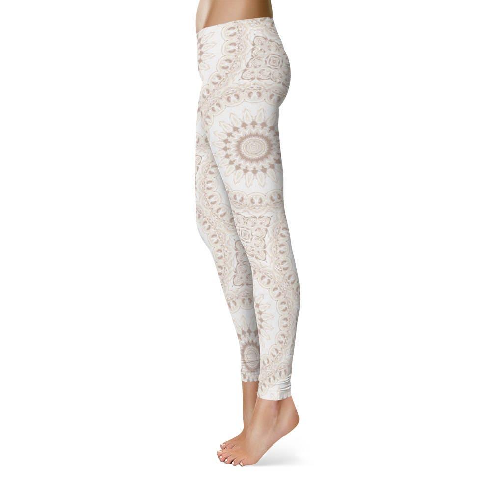 Boho Leggings White Leggings White And Beige Mandala Yoga