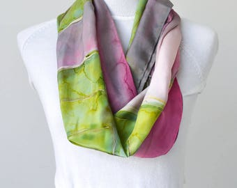 Silk Scarf, Hand Painted Pink and Green Silk Scarf, Long Scarf, Handpainted Floral Design, Crepe de Chine Silk Scarves, Gift Ideas for Women