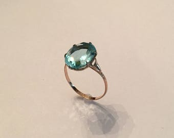 Art Deco Blue Zircon and Rose Gold Ring