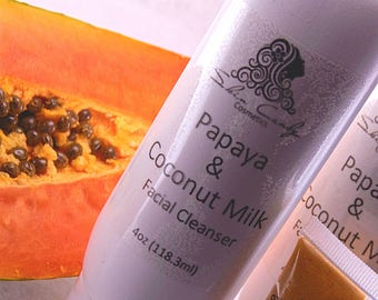 Papaya Facial Cream Cleanser Coconut Milk Red Palm Oil Unscented Cream Soap Cleanser