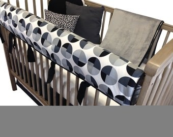 Cosmo Crib Bedding with Rail Guard- 4 Piece Set- Black White Gray
