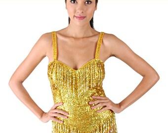 Leotard Dress - Oro Burlesque  - Burlesque dress, Latin dance dress, Sequin Body, Showgirl Dress, Paillttenbody,