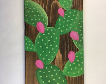 Prickly pear on wood art