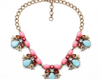 Aquamarino Candy Necklace /Bold and Beautiful / Choker / Pendant / Bib/ Crystal Necklace/ Valentine's day gift / Wedding Necklace