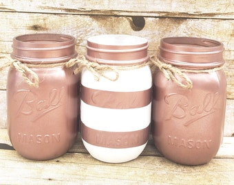 Set of 3 Hand Painted Stripe Mason Jars, Wedding Centerpieces, Teacher  Gifts, Spring