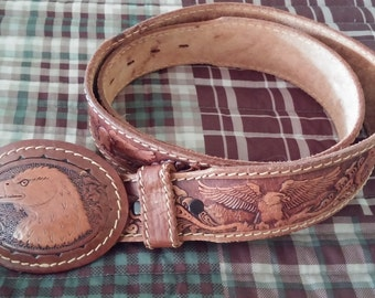 Tooled Leather Belt Eagle Head Buckle Size 38 Handpainted Western Floral Mountain Country Boy