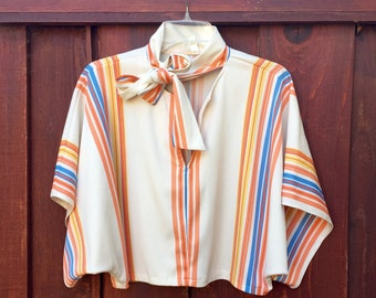 Disco Queen Bat Wing Rainbow Striped Cropped Blouse