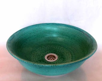 Sink oval turquoise Ø 38/36 H 11.5 cm
