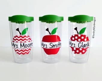 Personalized Teacher Tumbler, Apple Tumbler, Teacher Gift