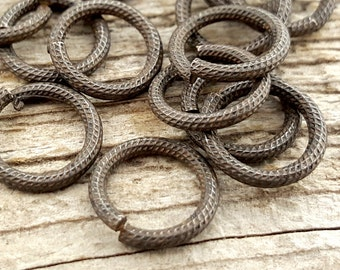 Large Jump Rings, Textured Jump Ring, Rib Cable Jump Rings, Rustic Brown Antiqued Jump Rings, 11mm Brass Jump Rings, 10 rings
