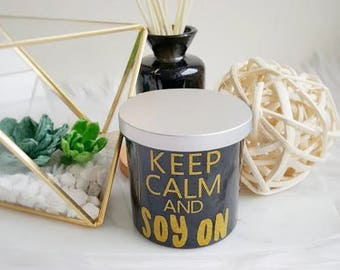 Cute Sayings - 100% Soy Wax - Scented Candle - Crackling Wood Wick - Double Wick - 10 oz Jar - Handcrafted - Glossy Black Glass Jar - Gifts