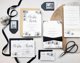 Suite d'invitation mariage Monochrome + Calligraphie  • Monochromatic & calligraphy wedding invitation suite