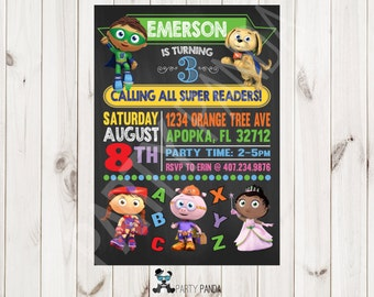 Super Why Birthday Invitation / Super why Party / Superwhy / Super Why / Super Why Party Ideas