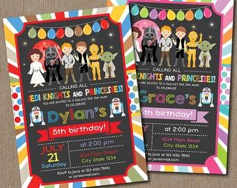 Star Wars Birthday Invitation, Star Wars Invite, Boys Invitation, chalkboard, Boys and Girls Invitation