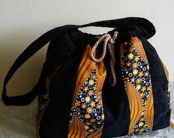 Drawstring Ankara print tote bag