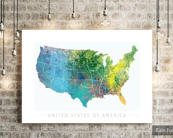 USA Map - Country Map of United States of America - Art Print Watercolor Illustration Wall Art Home Decor Gift Embossed PRINT