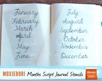 "Months of the Year Script Stencil - Bullet Point Journal Stencil, fits Traveler's Notebook, Leuchtturm and Moleskine 4"" by 7.5"""