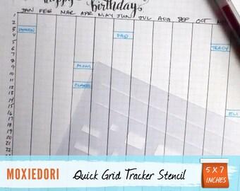 "Quick Grid Stencil - Bullet Point Journal Stencil, fits Leuchtturm and Moleskine 5"" by 7"""