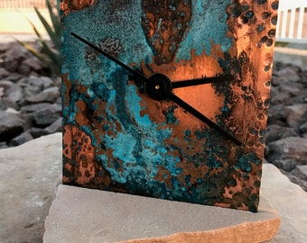 PATINA & HAND-FORGED Copper Clock - free shipping wedding housewarming gift unique Arizona flagstone industrial decor mother's coworker boss