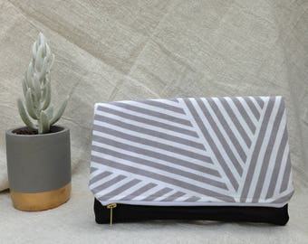 Crossroads Striped Fold Over Clutch Vegan Leather Gray White