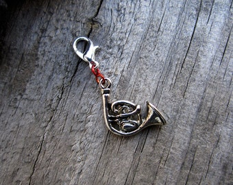 Silver French Horn Charm - Midori Charm - Fauxdori Traveler's Notebook Charm - Lead Free Pewter