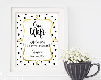 Wifi Password Printable - Wifi Password Sign Printable - Our Wifi Password - Guest Room Decoration - Faux Gold Foil Wifi Password Sign