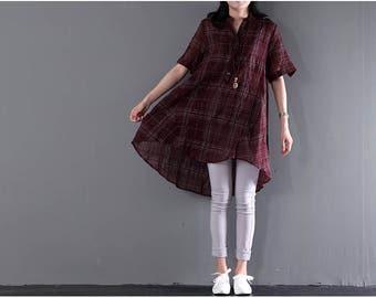 Women shirt plaid shirt V-neck linen blouse loose tops linen t-shirt casual summer shirt