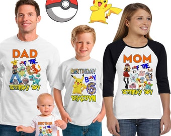 Pokemon birthday shirt /Pokemon shirt /family matching shirts/Pokemon birthday party shirt /Pokemon/ family shirts
