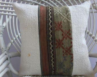 white plaid patchwork kilim pillow sofa pillow kilim pillow cover 16x16 turkish kilim pillow cover patchwork pillow embridery pillow 2363