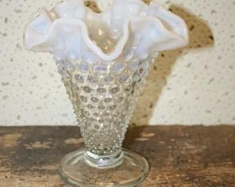 Vintage French Opalescent Hobnail Vase