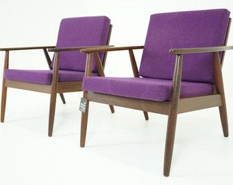 307-088 SALE! Danish Mid Century Modern Pair Teak Lounge Armchairs Easy Chairs