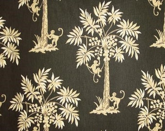Monkeys Swinging Palm Silhouette color Black P/Kaufmann Printed Fabric Decorative Home Decor