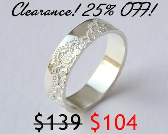 CLEARANCE 25% OFF! Classic Ring with Lace Texture, Anniversary Ring, Wedding Ring,  Silver Lace Ring, Unique Silver Ring, Size 6.25