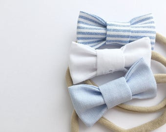 Trio of headbands for baby / child nylon - fabric loops - striped blue, white, pale blue
